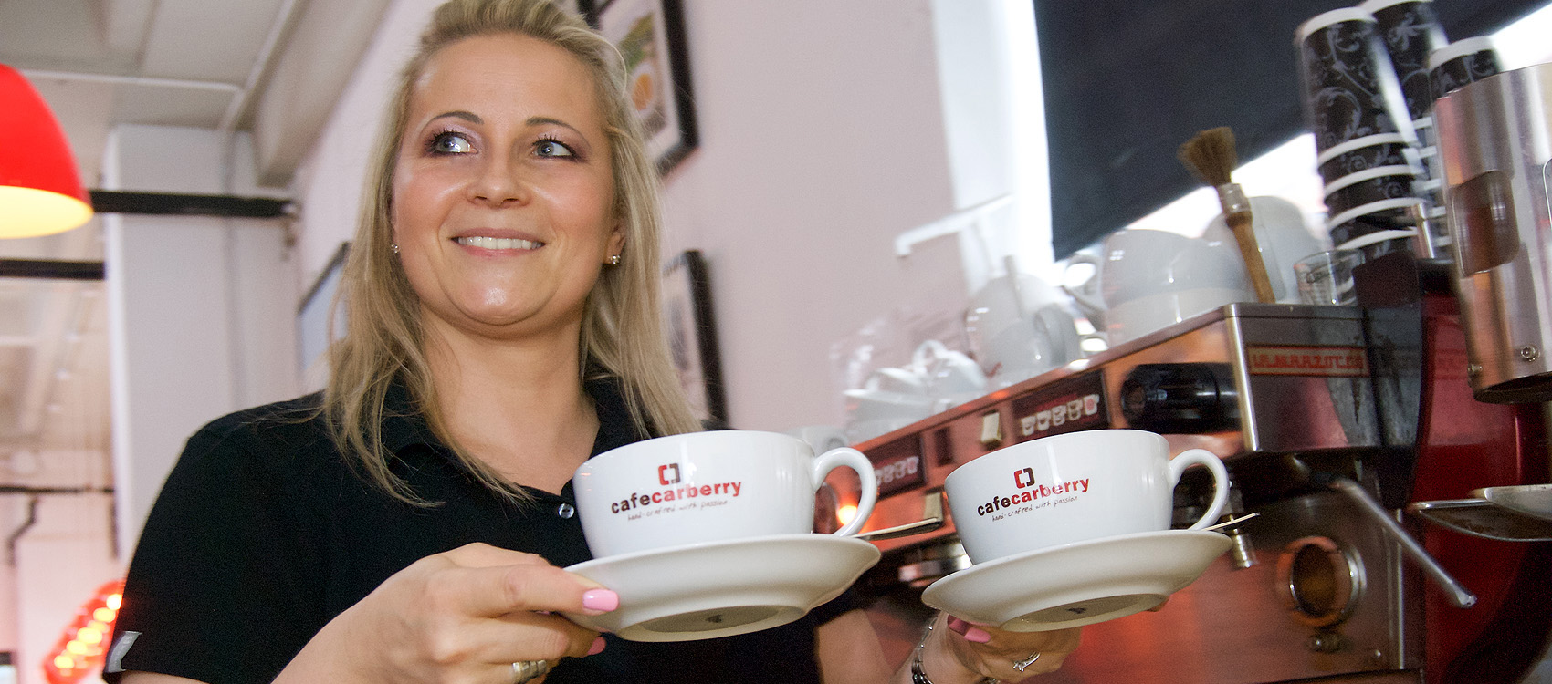 Carberry Catering Belfast, waitress carrying coffee from coffee machine - photo 1100.